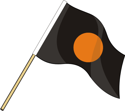 Motorsportflagge SCHWARZ-ORANGE